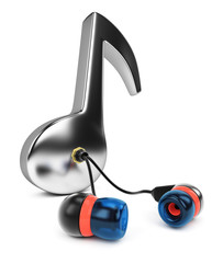 Music note with earphones