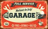 Retro car service sign. Vector illustration. - 68911511