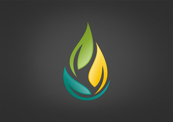 bio energy logo abstract leaves waterdrop