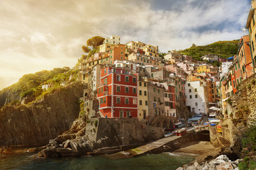 Riomaggiore village under sunset, Liguria, Italy