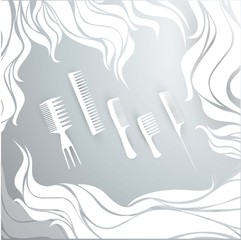 hair combs background for hairdressers