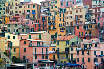 View on buildings in Manarola. Manarola is a small town in the p