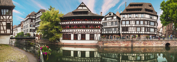 Panoramic view on Nice canal with houses in Strasbourg, France.