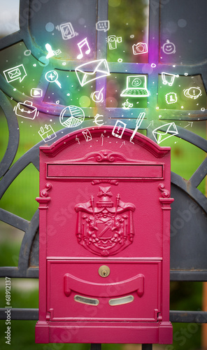 canvas print picture Colorful icons and symbols bursting out of a mailbox