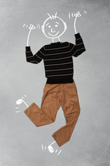 Cute funny cartoon character in casual clothes
