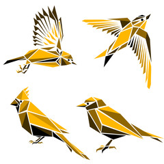 Set of four triangle birds  symbols