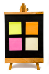 blackboard with colorful postit on white background