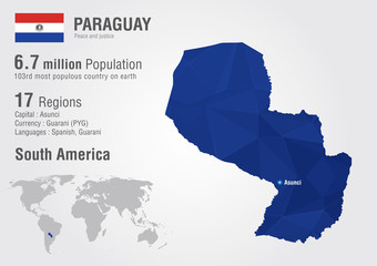 Paraguay world map with a pixel diamond texture.