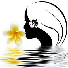silhouette féminine et fleurs