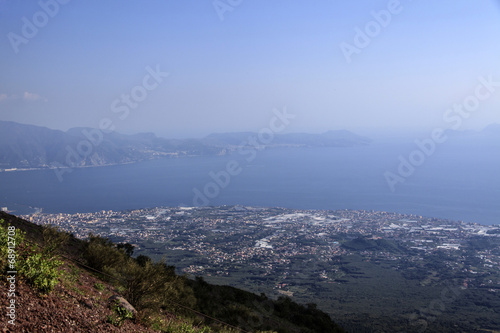canvas print picture Blick vom Vesuv auf die Stadt und die Bucht Neapel