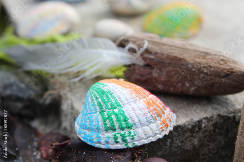 canvas print picture bunt am Strand