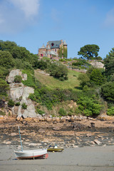 House and small boats on Brehat island in brittany