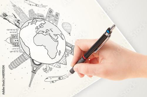 Ręczne rysowanie wakacyjnej podróży po ziemi z punktami orientacyjnymi i c