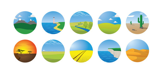 landscape vector illustration set