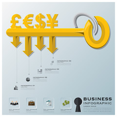 Business And Financial With Key Shape Infographic
