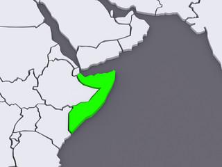 Map of worlds. Somalia.