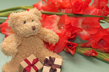 Teddy bear with little gift boxes and flowers