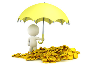 3D Man holding Umbrella over Pile of Gold Coins