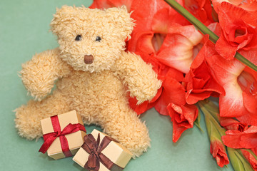 Gift to girlfriend - teddy bear and flowers
