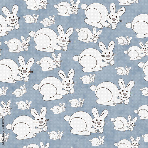 Blue and White Bunny Textured Fabric Repeat Pattern Background