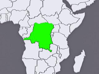 Map of worlds. Democratic Republic of Congo.