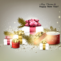 Christmas background with gifts. Xmas boxes with bows and place