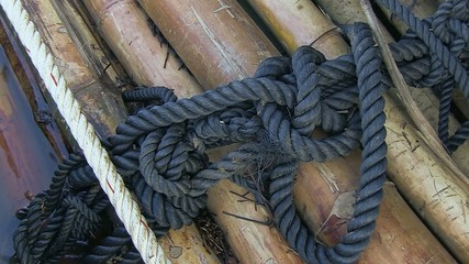 Big ropes using  to fasten bamboo rafts