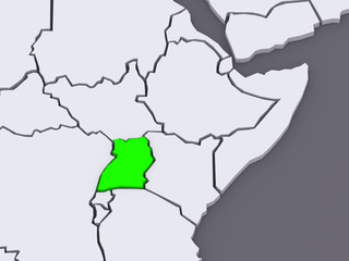 Map of worlds. Uganda.