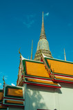 Thai temple,Thai heritage with blue sky background poster