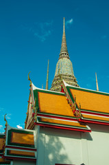Thai temple,Thai heritage with blue sky background
