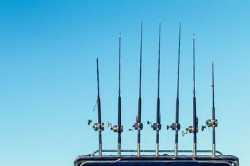 Fishing Rods Boat Rack Morning Blue Sky