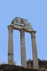 Roman antiquity: Closeup of the Roman Forum in Rome, Italy