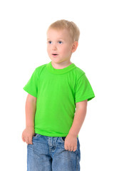 cute boy in green t-shirt