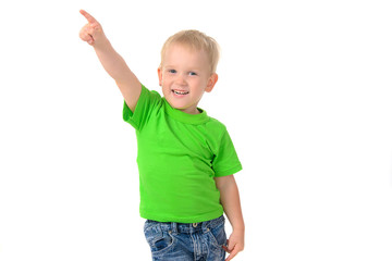 portrait of a cheerful boy in green t-shirt