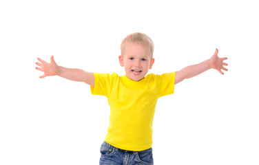 portrait of fashionable little boy in yellow t-shirt