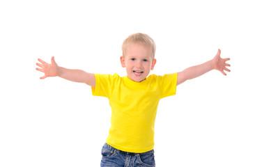 portrait of fashionable little boy in yellow t-shirt