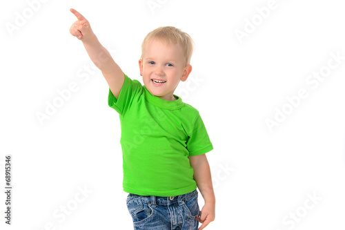 canvas print picture portrait of a cheerful boy in green t-shirt