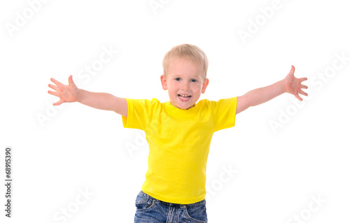 canvas print picture portrait of fashionable little boy in yellow t-shirt