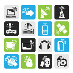 Silhouette wireless and technology icons - vector icon set