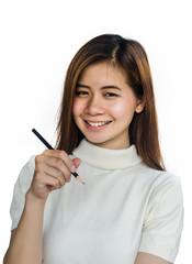 Beauty Asian Girl holding a black Pencil .