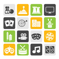 Silhouette entertainment objects icons