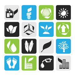 Silhouette environment and nature icons