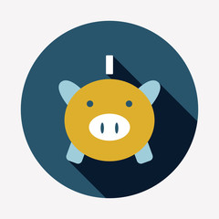 Piggy bank flat icon with long shadow