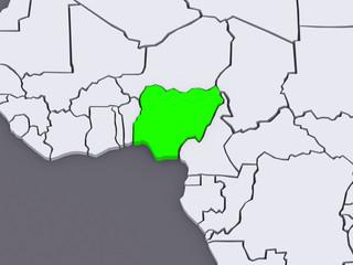 Map of worlds. Nigeria.