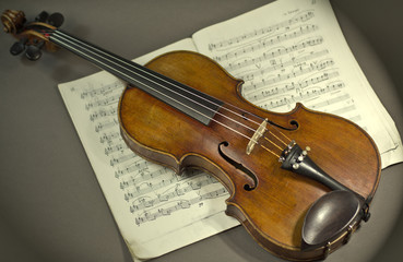 beautiful violin on a sheet music background