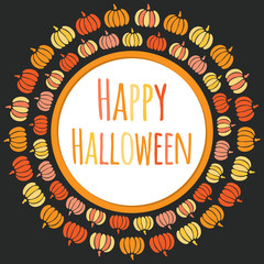 Happy Halloween round frame with colorful pumpkins