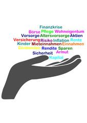 Hand mit Wortwolke Altersvorsoger