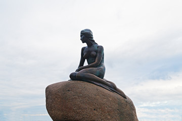 The Little Mermaid statue in Copenhagen Denmark