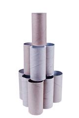 Empty toilet paper rolls tower