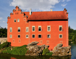 Romantic water castle Cervena Lhota in South Bohemia